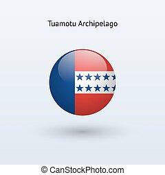 Tuamotu Archipelago round flag on gray background. Vector illustration.