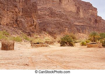 Tuareg village. Tassili N'Ajjer National Park, Algeria,