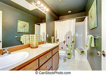 tub., armadietto stanza bagno, doccia, legno, verde
