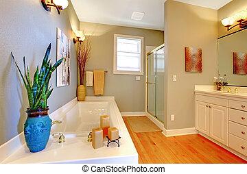 tub., badrum, remodeled, stort, väggar, grön, färsk