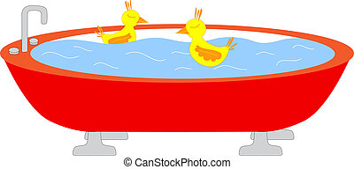 Tub with swimming ducks - Red tub full of watter with two...