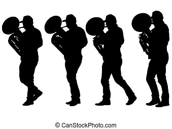 Tuba - Vector drawing of a man walking with a tuba