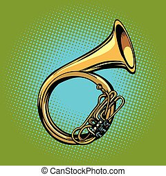 tuba French horn helicon musical instrument. Pop art retro...
