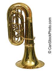tuba, instrumento, fundo, branca, musical, vento