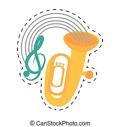 tuba wind brass music instrument dotted line vector...