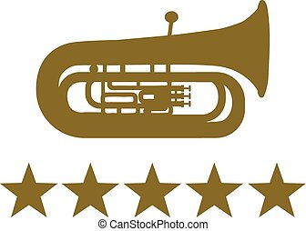 Tuba with five golden stars