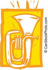 Tuba - Woodcut image of a tuba on an orange background.