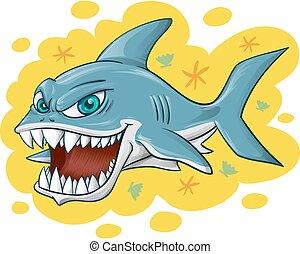 tubarão, amarela, caricatura, fundo