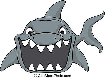 tubarão, ataque, caricatura