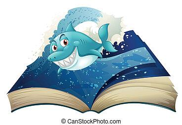 tubarão azul, livro, sorrindo, ondas