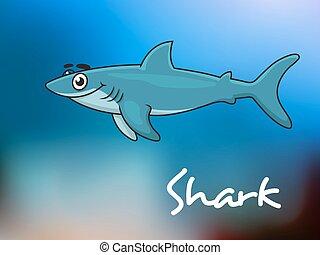 tubarão, caricatura, mar