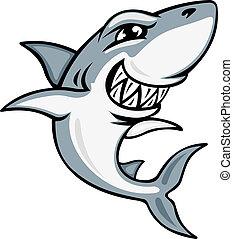 tubarão, caricatura, mascote