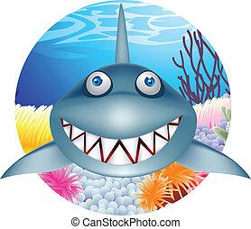 tubarão, caricatura, personagem
