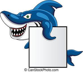 tubarão, com, sinal branco