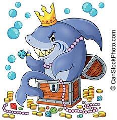 tubarão, com, tesouro, tema, imagem, 1