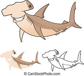 tubarão hammerhead, caricatura
