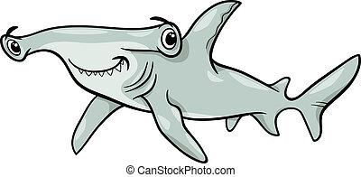 tubarão hammerhead, ilustração, caricatura