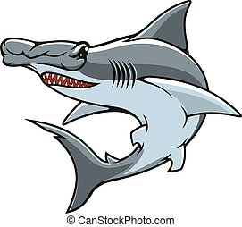 tubarão hammerhead, isolado, vetorial, ícone, mascote