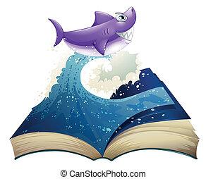 tubarão, livro, imagem, onda