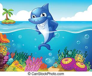 tubarão, mar, profundo, sorrindo