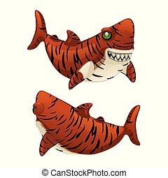tubarão, seu, illustration., bares, isolado, tiger, experiência., vetorial, dentes, afiado, branca, caricatura