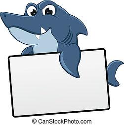 tubarão, sinal, fresco, em branco