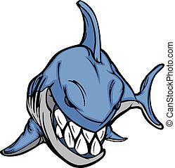 tubarão, vetorial, caricatura, imagem, mascote