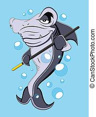 tubarão, vetorial, caricatura
