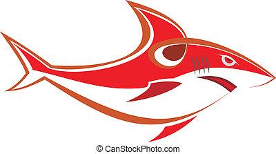 tubarão, vetorial, -, vermelho, ilustração
