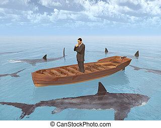 tubarões, homem negócios, cercado