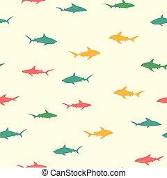 tubarões, padrão, coloridos