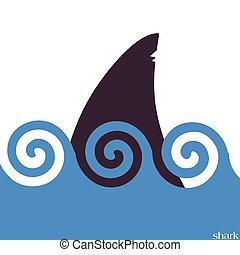 tubarões, vetorial, mar, ilustração