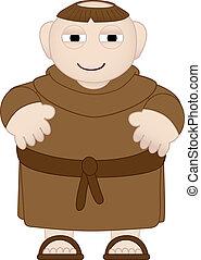 tubby, monnik, in, bruine , robes, vervelend, sandles
