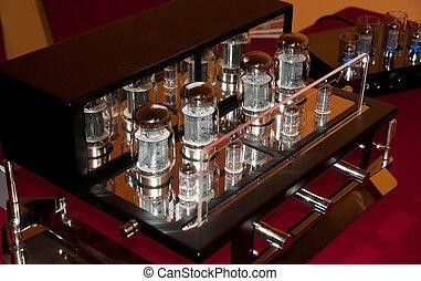 High end tube amplifier closeup