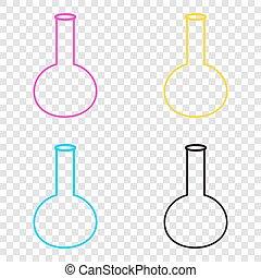 tube., backgroun, signe., icônes, cmyk, verre, laboratoire, transparent