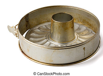 Tube baking pan - Old fluted tube baking pan isolated on ...