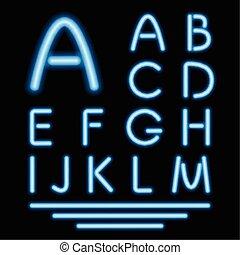 tube bleu, néon, letters., incandescent, vecteur, font.