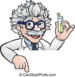 tube, caractère, scientifique, tenue, essai, dessin animé