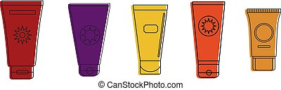 Tube creme icon set, color outline style - Tube creme icon...