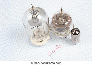 tube, (electron, vieux, tube), vide