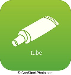 Tube icon green vector isolated on white background
