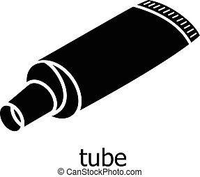 Tube icon, simple black style - Tube icon. Simple...