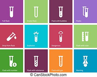 Tube icons on color background.