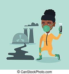 tube., jeune, scientifique, tenue, africaine, essai