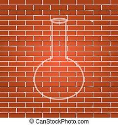 Tube. Laboratory glass sign. Vector. Whitish icon on brick...