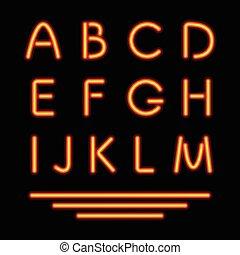 tube, néon, letters., incandescent, vecteur, font.