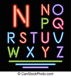 tube, néon, multicolore, letters., incandescent, vecteur, font.