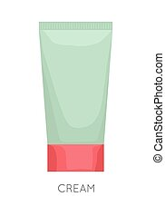 Tube Of Cream. Cartoon vector icon. Container of cosmetic...
