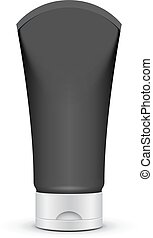 Tube Of Cream Or Gel Black Silver Clean. Product Packing Vector EPS10. Mock Up Template Ready For Your Design.