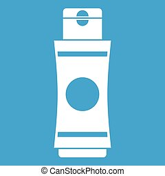 Tube of cream or gel icon white isolated on blue background...